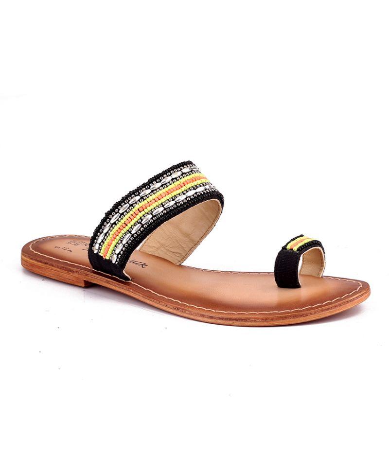 Buy Naughty Walk Black Genuine Leather Sandals 708 online
