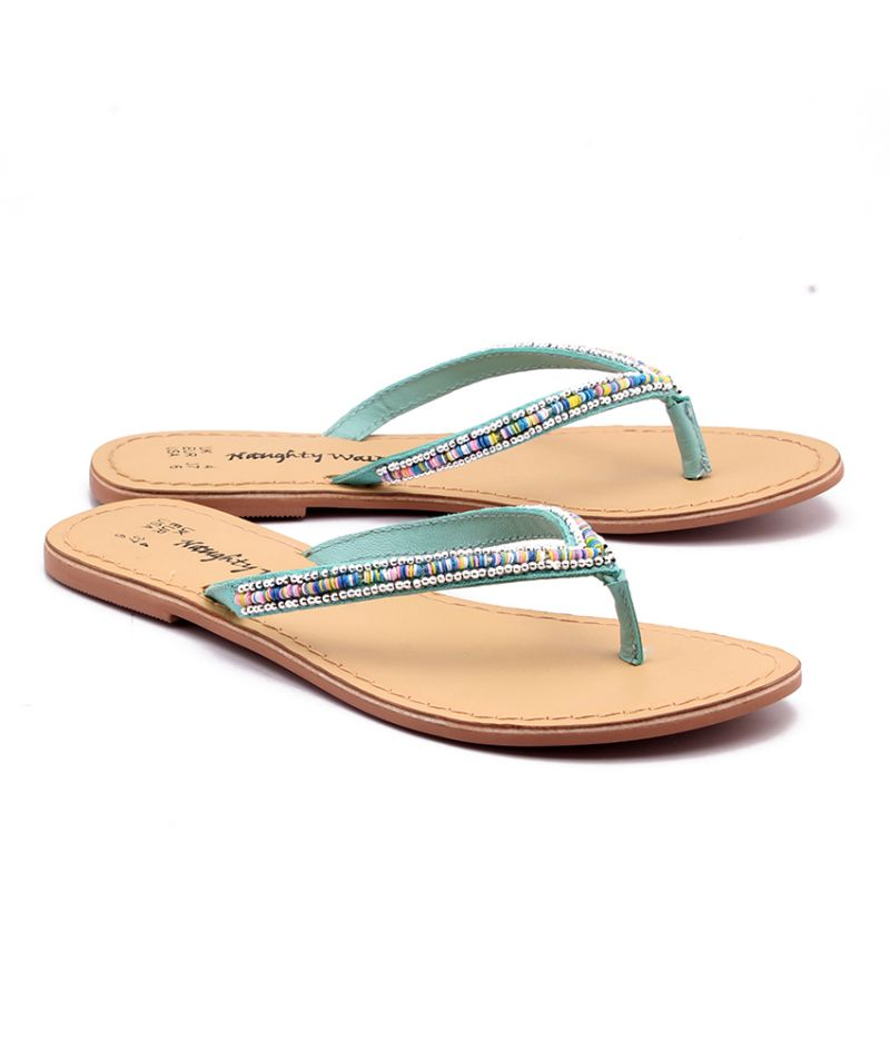 Buy Naughty Walk Turquoise Strap Genuine Leather Sandals online