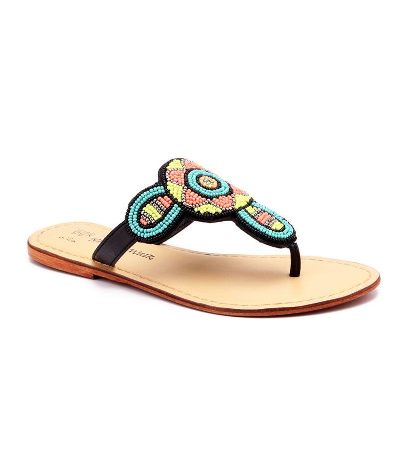 Buy Naughty Walk Genuine Leather Multi Green Ethnic Sandals 714 online