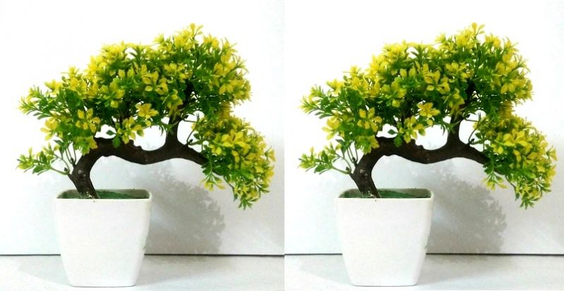 Buy Artificial Bonsai Wild Plant With Base Set Of 2 PCs online