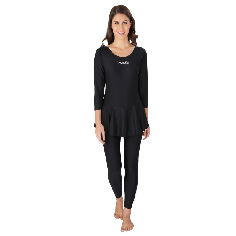 Buy Lactra Full Frock Style Black Swimming Wear For Womens Online