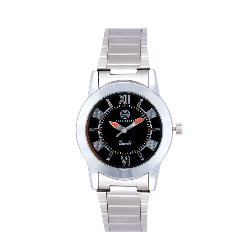Buy Shostopper Roman Metallic Black Dial Analogue Watch For Men online