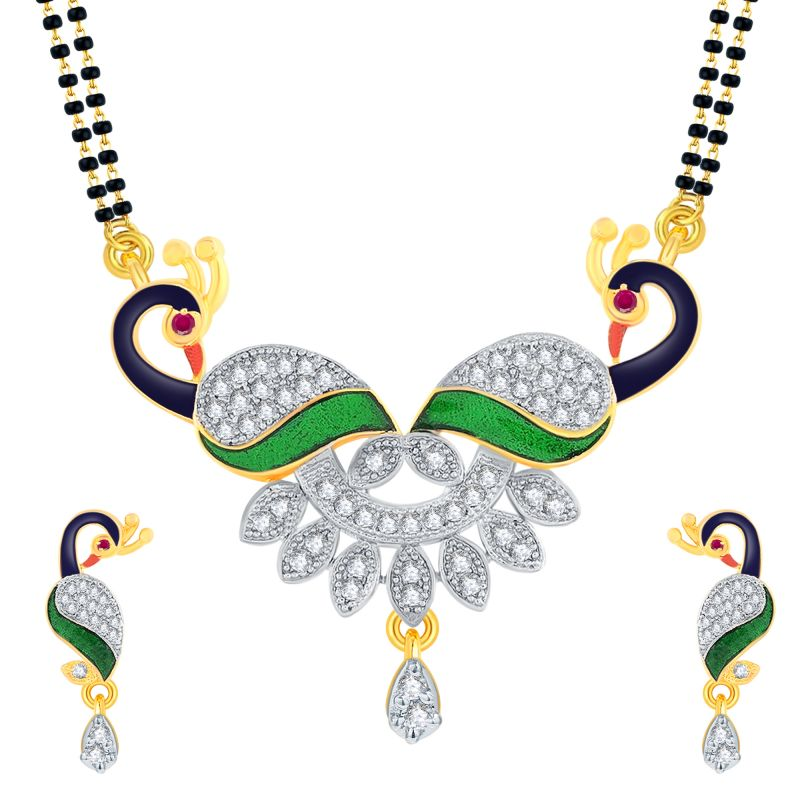 Buy Shostopper American Diamond Gold Plated Peacock Mangalsutra With Chain And Earrings For Women Sj14001ms online