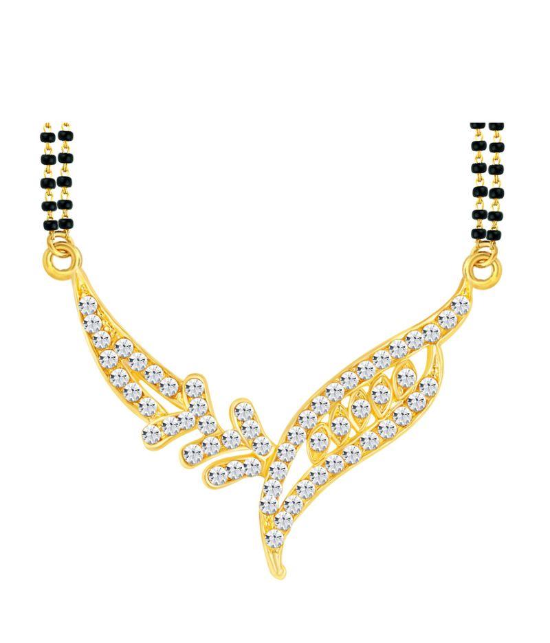 Buy Shostopper Gorgeous Gold Plated Australian Diamond Mangalsutra Pendant online