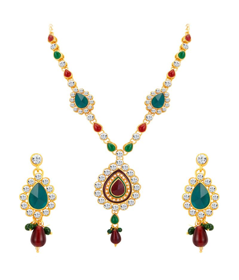 Buy Shostopper Exquisite Gold Plated Australian Diamond Necklace Set online