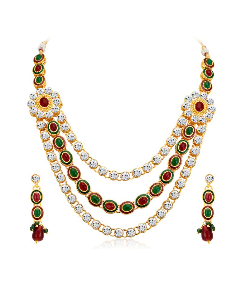 Buy Shostopper Splendid Gold Plated Australian Diamond Necklace Set online