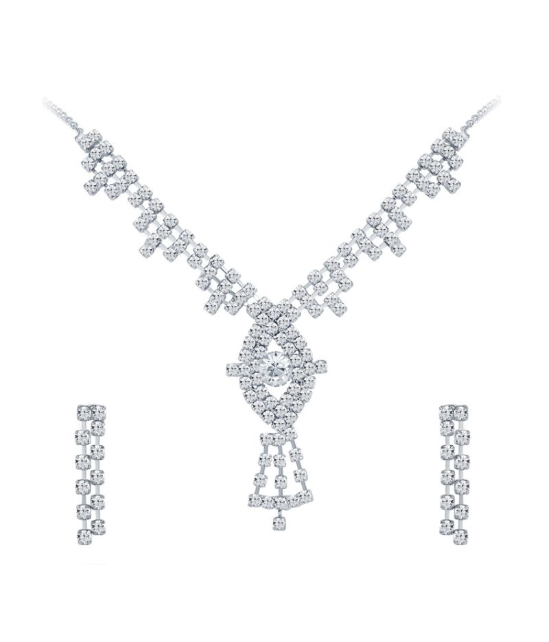 Buy Shostopper Enchanting Rhodium Plated Australian Diamond Necklace Set online