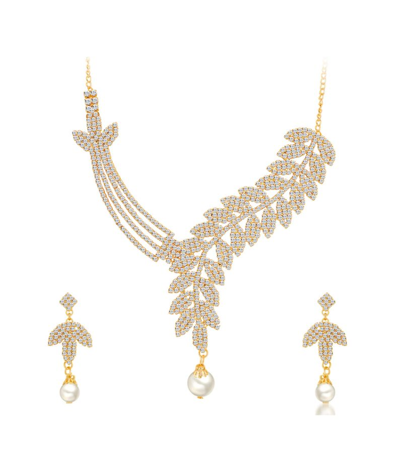 Buy Shostopper Fine Gold Plated Australian Diamond Necklace Set online