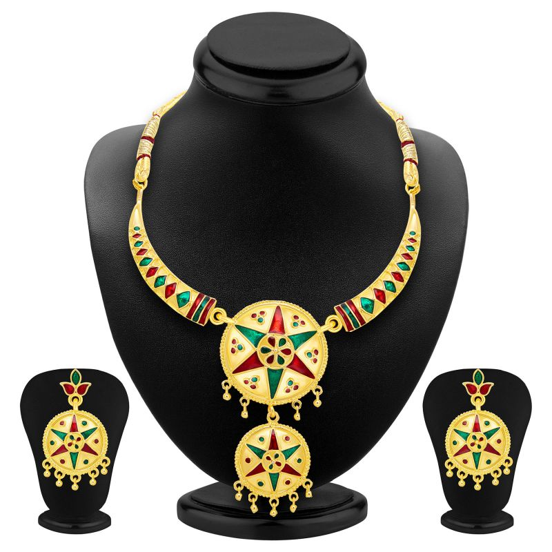 Buy Shostopper Exotic Gold Plated Meenakari Necklace Set Sj2036n online