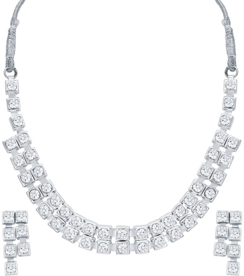Buy Shostopper Pretty Rhodium Plated Necklace Set online
