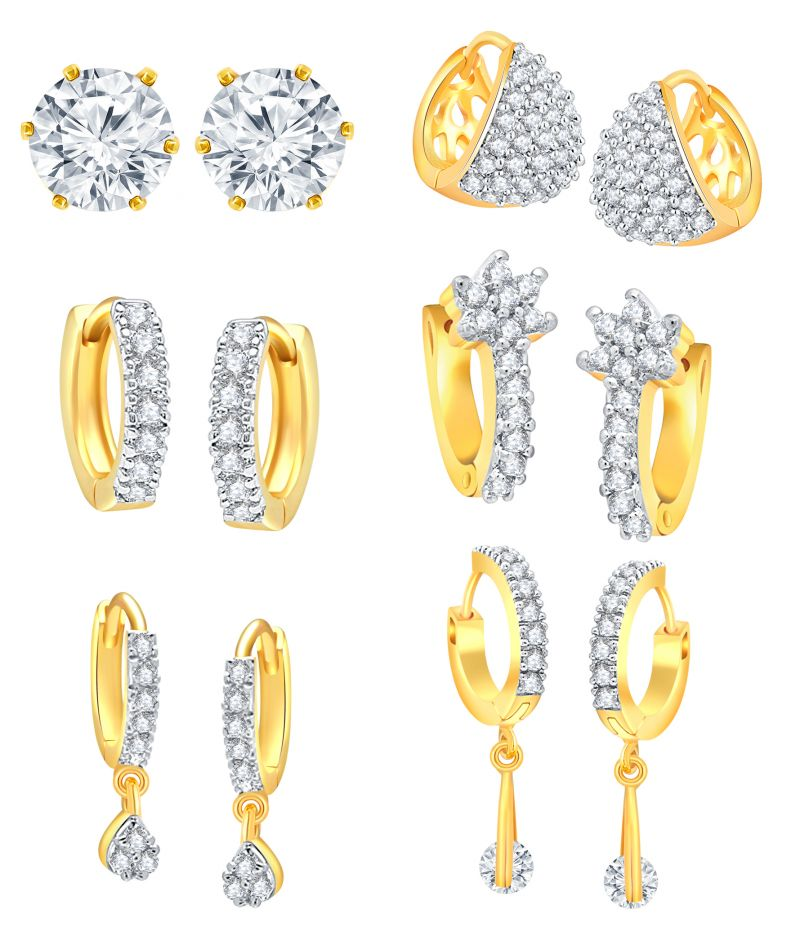 Buy Shostopper American Diamond Hoop Earrings For Women & Girls (combo Of 6) Sj227cb online