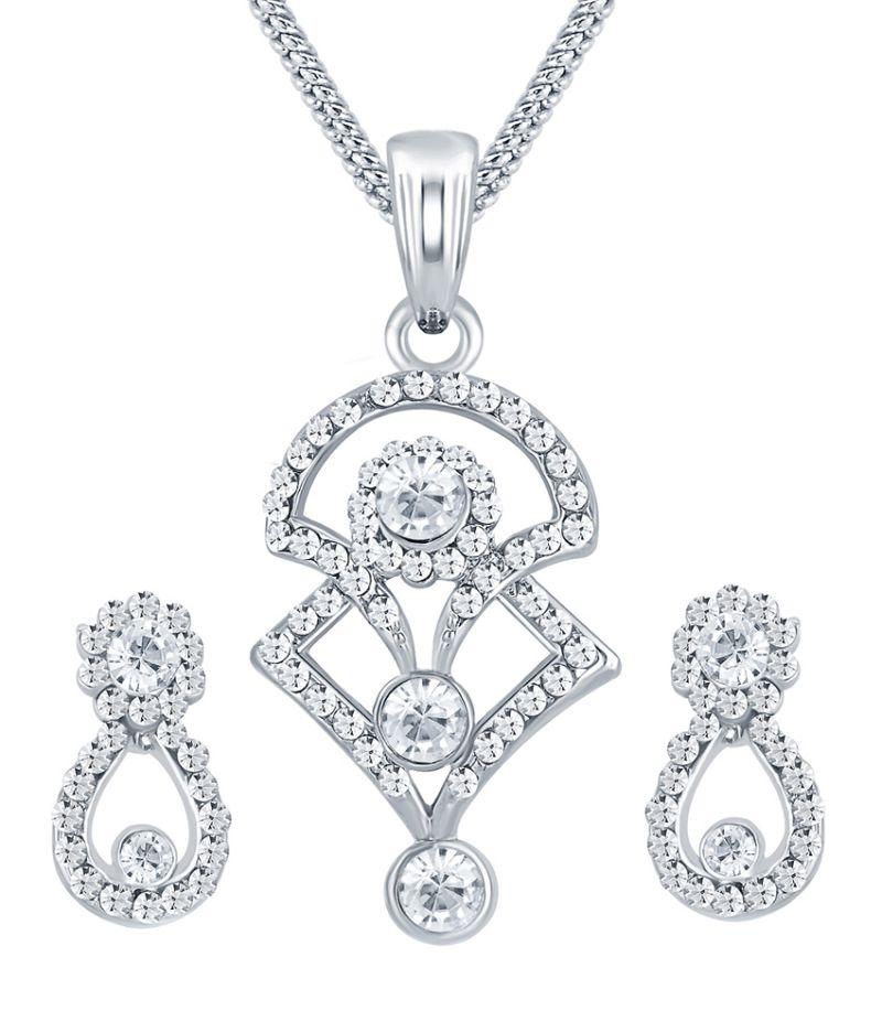Buy Shostopper Modern Rhodium Plated Australian Diamond Pendant Set online
