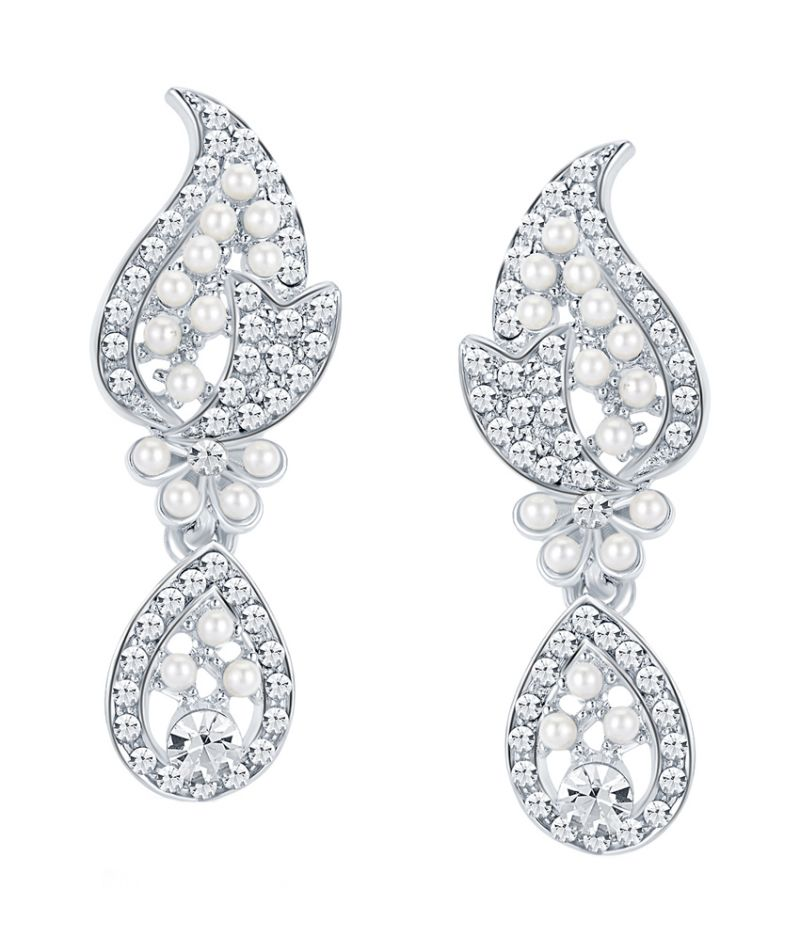 Buy Shostopper Divine Rhodium Plated Australian Diamond Earring online