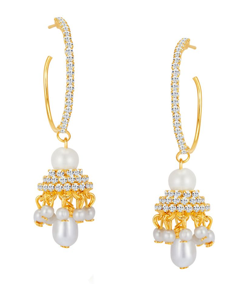 Buy Shostopper Artistically Gold Plated Australian Diamond Earring online