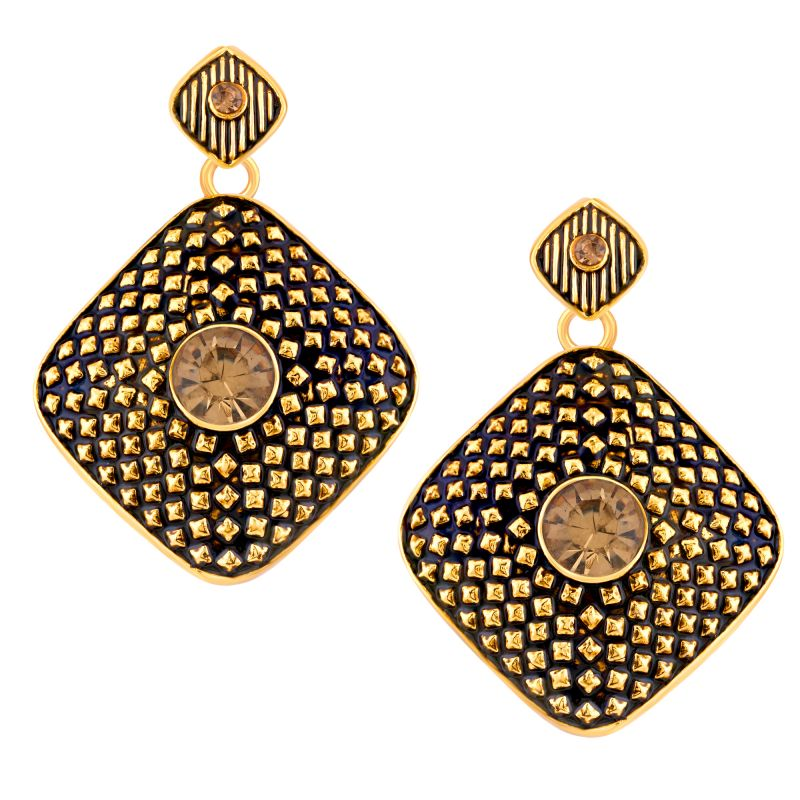 Buy Shostopper Black/golden Alloy Danglers & Drop Earring For Women Sj6086en online