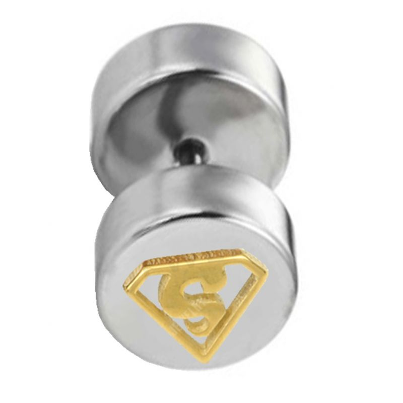 Buy Men Style Barbell Dumbell Superman Inspired 8 MM Circle Gold Silver Stainless Steel Round Piercing Single Stud Earring online