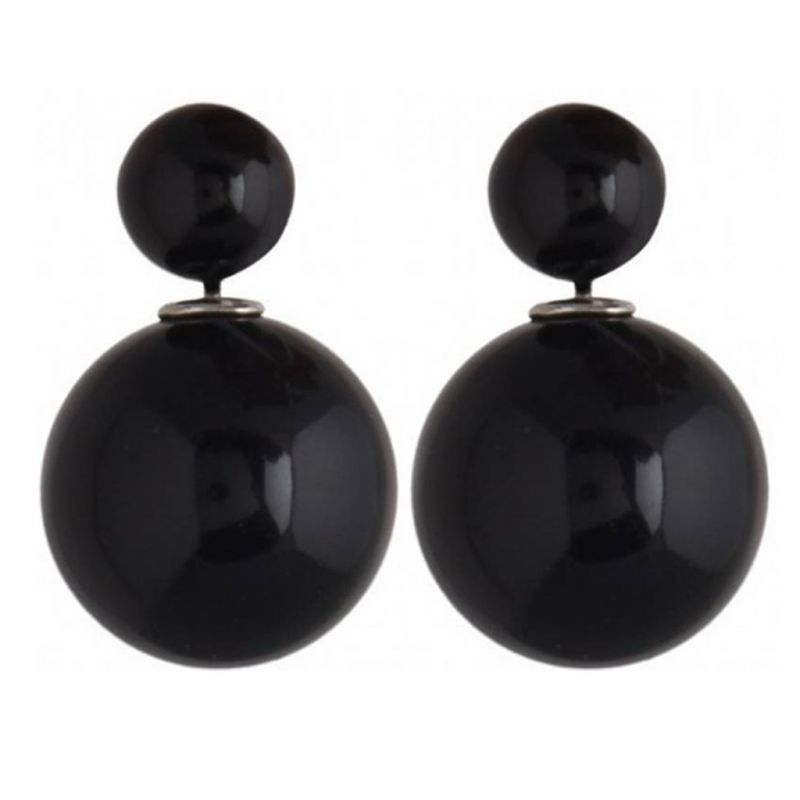 Buy Men Style Elegant Double Sided Two Sided Big Pearl Bubbles Matt Black Alloy piercing Stud Earring For Girl and Women online