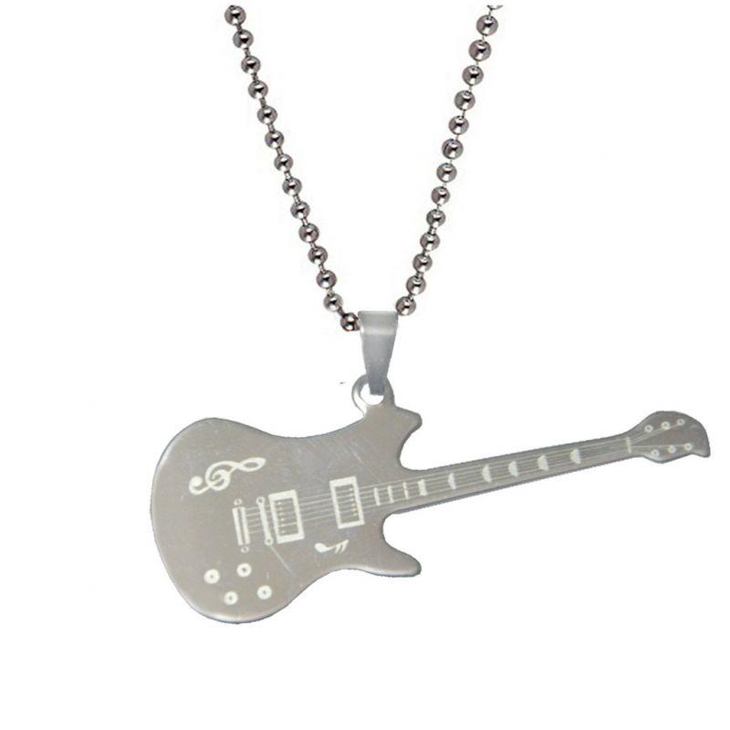 Buy Men Style Rock Music Guitar With Symbols Silver Guitar Pendant