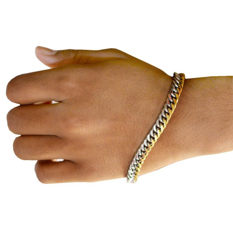 Buy Men Style Link Chain Wrist band hand Bracelet Gold and Silver ...