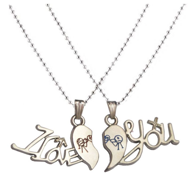 Buy Men Style Dual chain Silver Zinc Alloy Heart Pendent Silver ...