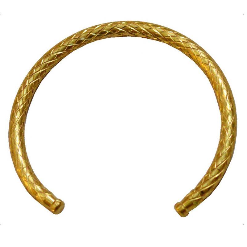 f8d91ea655f12 Men Style Punjabi Sikh Open ended Adjustable Gold Brass Half Round Half  Kada For Men And Women