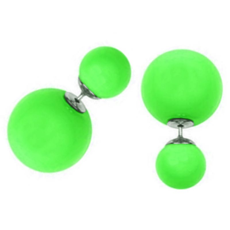 Buy Men Style Elegant Double Sided Big Pearl Bubbles Green Alloy Round Stud Earring For Girl and Women online