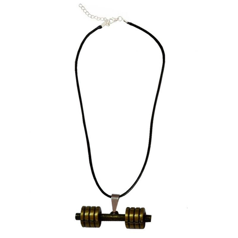 Buy Men Style Bodybuilding Barbell Dumbbell Charm Gold And Black Zinc Alloy and Leather Pendant online