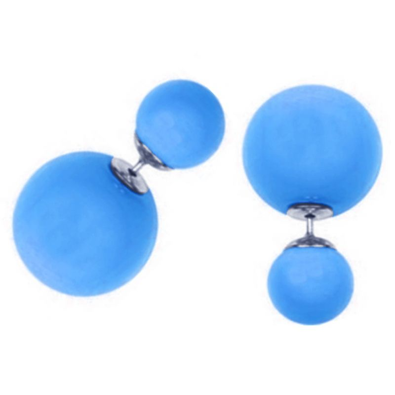 Buy Men Style Elegant Double Sided Big Pearl Bubbles Blue Alloy Round Stud Earring For Girl And Women (product Code -er01005) online