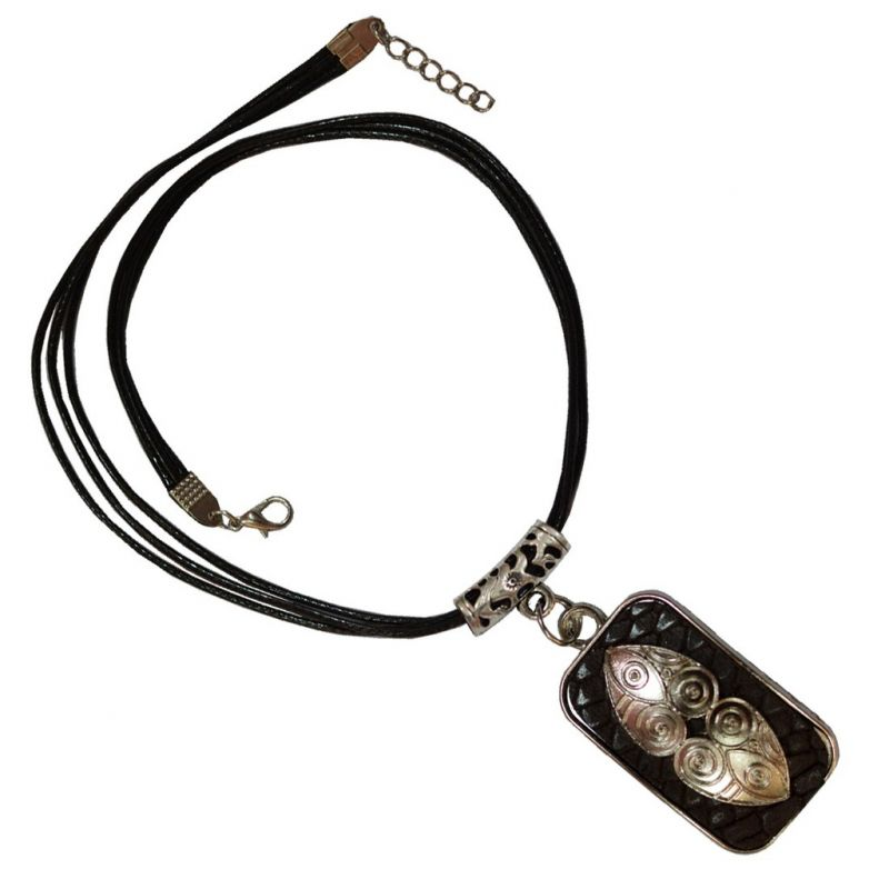 Buy Men Style 2017 New Arrival Antique Silver And Brown Zinc Alloy Square Necklace Pendant For Men And Boys (product Code -spn001036) online