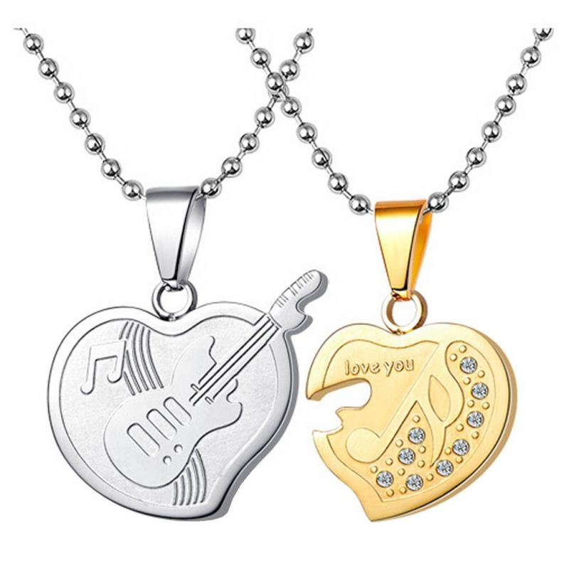 Buy Men Style Cz Heart Musical Note Music Symbol Guitar Couple