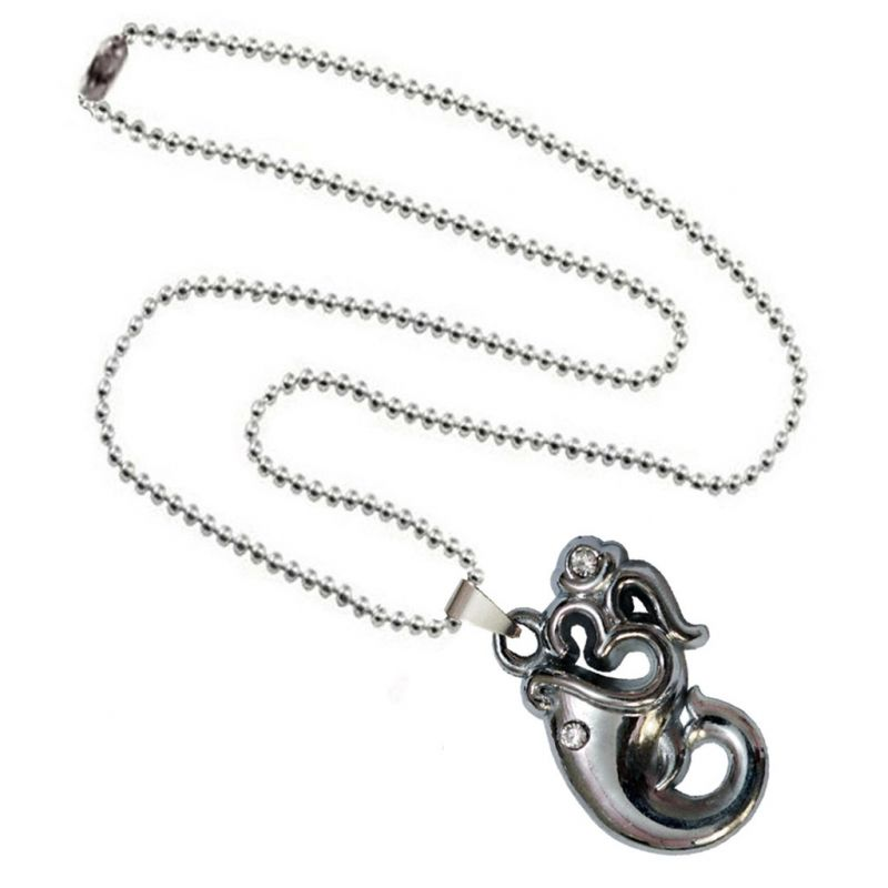 Buy Men Style Lord Ganesha With Om Silver Alloy Necklace Pendant For Men And Women(product Code -spn001041) online