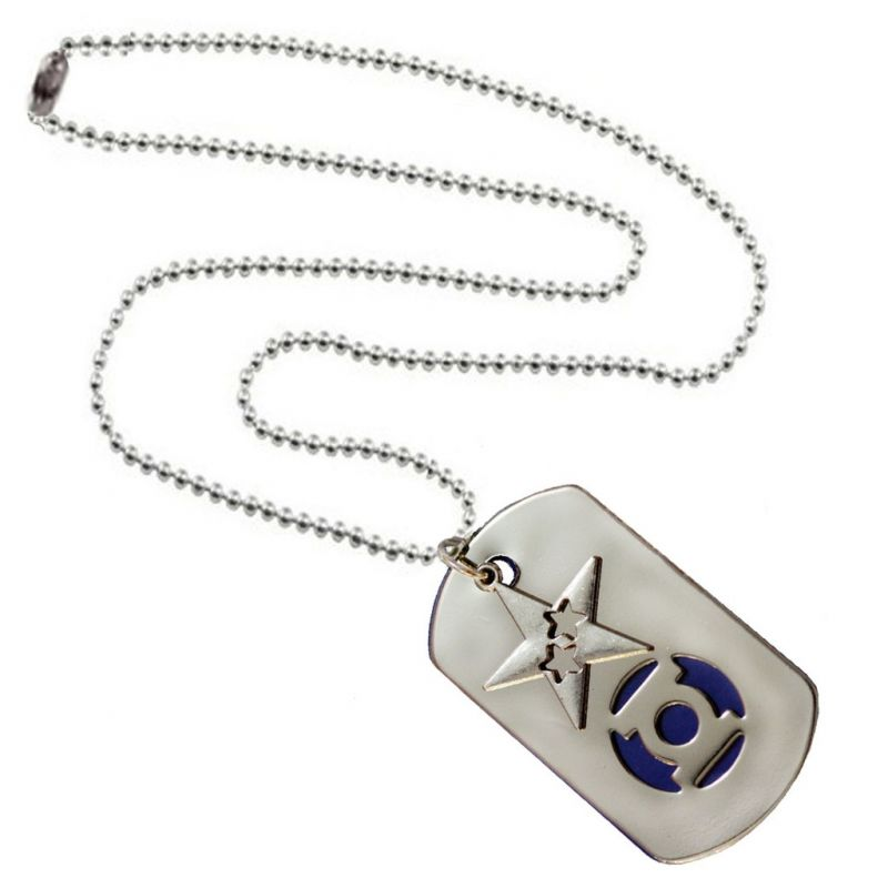 Buy Men Style Star Shape Silver And Blue Stainless Steel Square Necklace Pendant For Men And Boys (product Code -spn001044) online