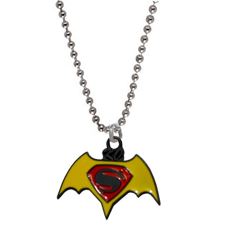 Buy Men Style Superman Inspired Red and Yellow Alloy Necklace Pendant For Men And Boys online