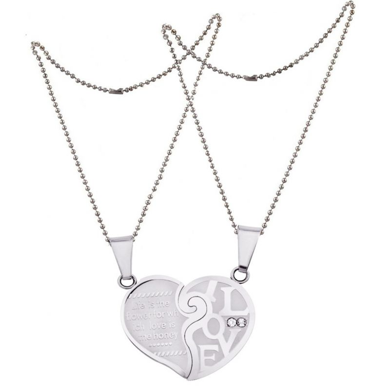 8a9112243b Men Style Love His and Hers Couples Gift Heart Silver Stainless Steel Heart  Pendant