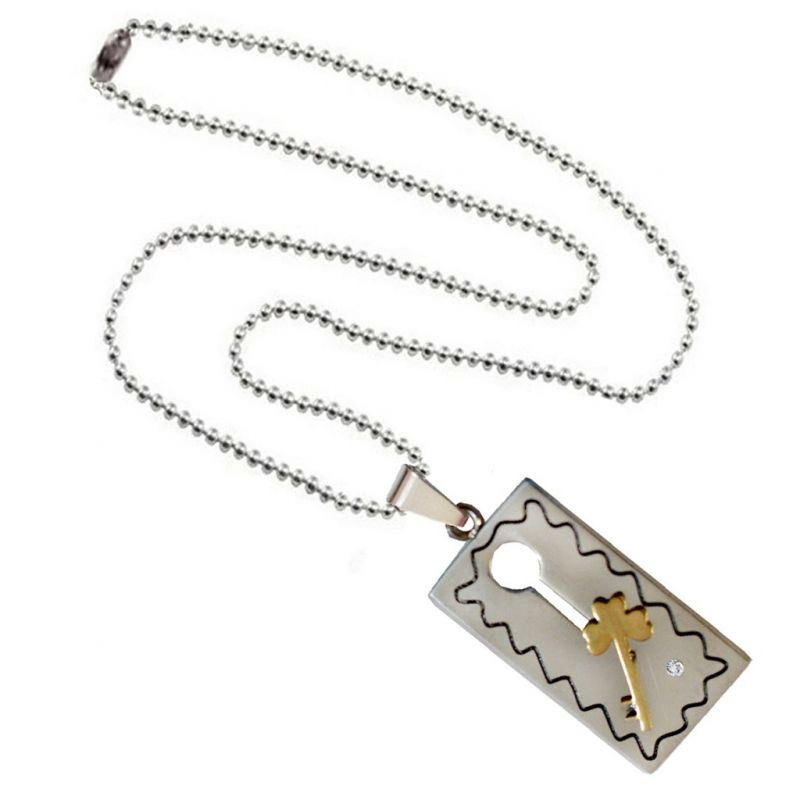 Buy men style valentine gift key puzzle couple necklace gold and buy men style valentine gift key puzzle couple necklace gold and silver stainless steel square necklace aloadofball Image collections
