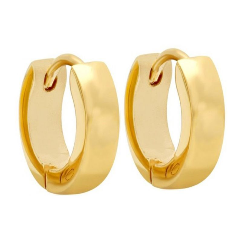 Buy Men Style Best Quality Classic Plain 316l Gold Stainless Steel Round Hoop Earring For Men And Boy - Ser03024 online