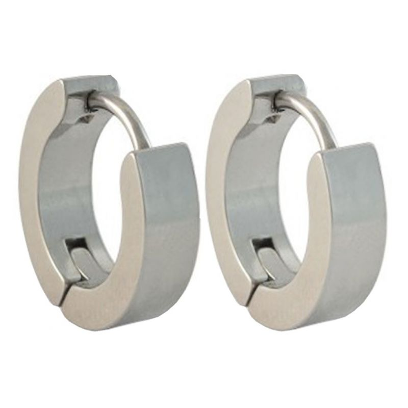 496ab312e6db8 Men Style Best Quality Classic Plain 316l Silver Stainless Steel Round Hoop  Earring For Men And Boy - Ser03025