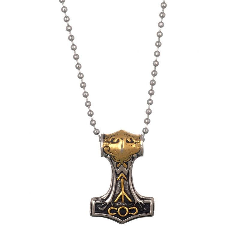Buy Men Style Hammer Knot Myth Mjolnir Gold And Silver Rhodium Plated Necklace Pendant For Men And Boys (product Code -spn003041) online