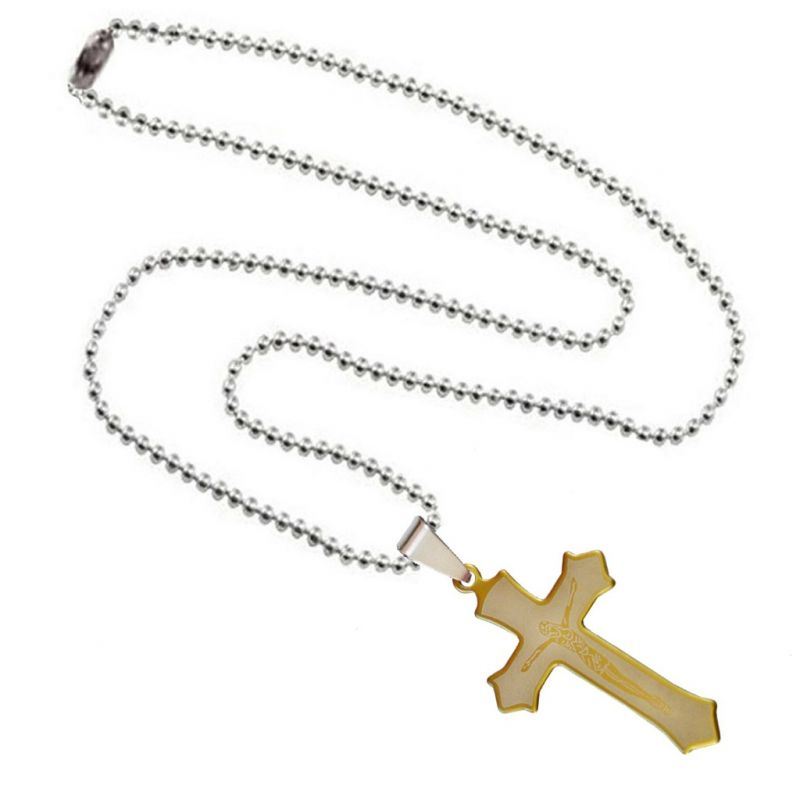 Buy Men Style Religious Jesus Cross Gold Stainless Steel Necklace Pendant For Men and Women online