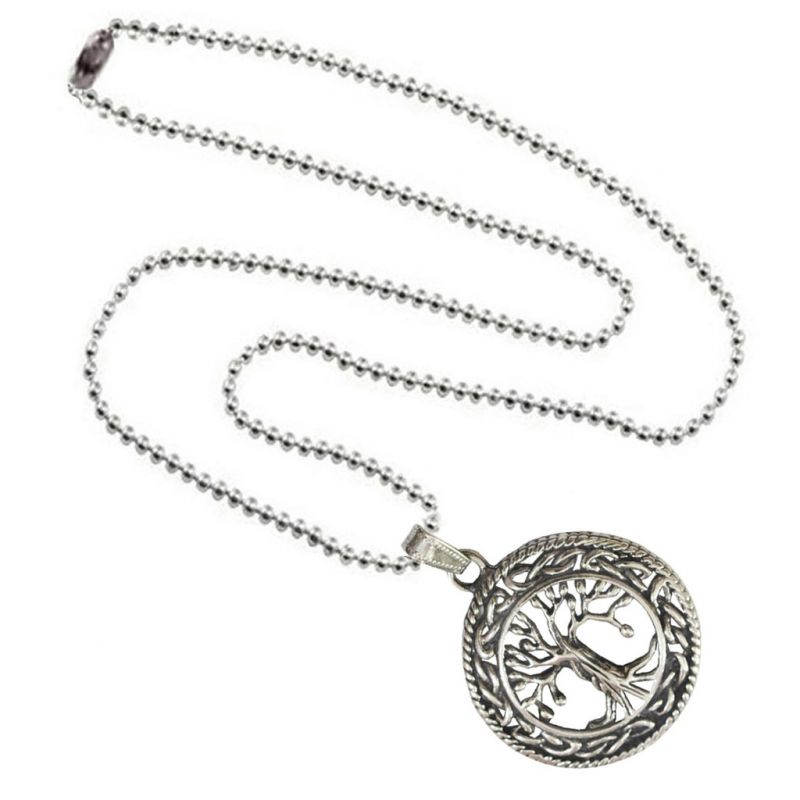 Buy Men Style Two Tone Vintage Lucky Silver Tree Silver Zinc Alloy Necklace Pendant For Men and Boys online