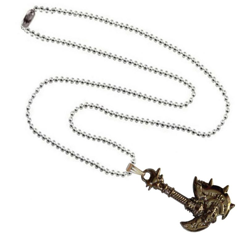 Buy Men Style Ancient Vintage Axe Shape Silver And Brown Zinc Alloy Necklace Pendant For Men And Boys (product Code -spn003051) online
