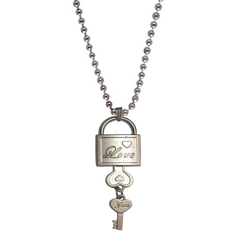 Buy Men Style Lovers'??Lock And Key Silver Stainless Steel lock Pendent For Men And Women online