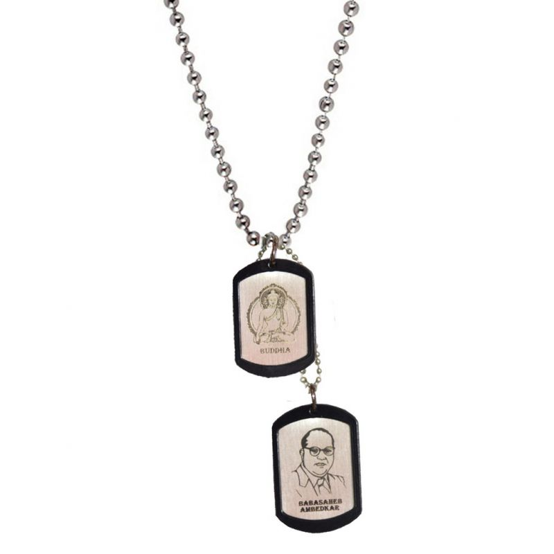 Buy Men Style God Budda And Dr. Babasaheb Ambedkar Silver Stainless Steel Squre Pendent For Men And Women online