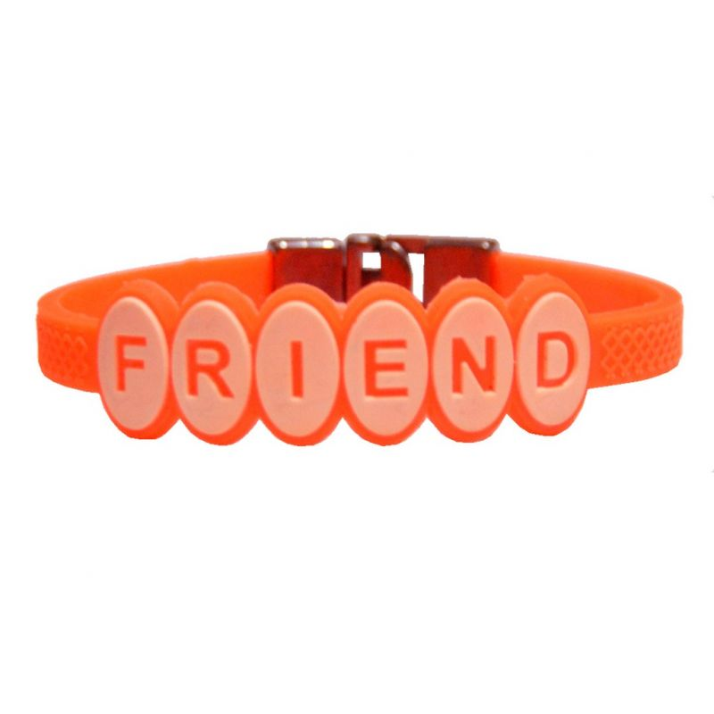 Buy Men Style Hot Selling Friend ship Orange Silicon Flat Bracelet For Men And Women online