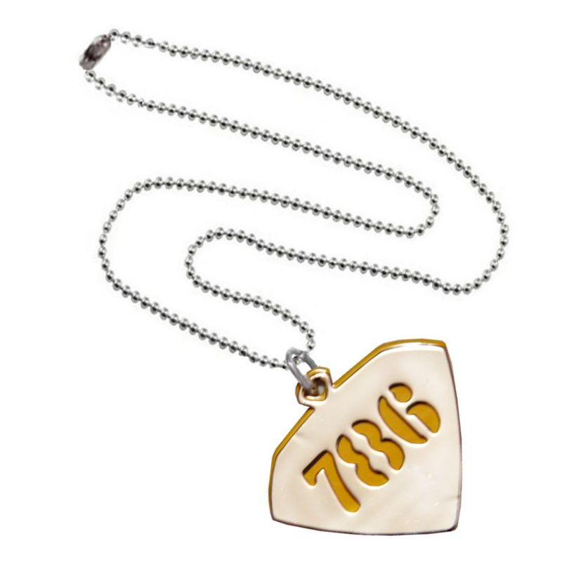 Buy Men Style 786 Design Yellow Silver Stainless Steel Triangle Pendent For Men And Women online