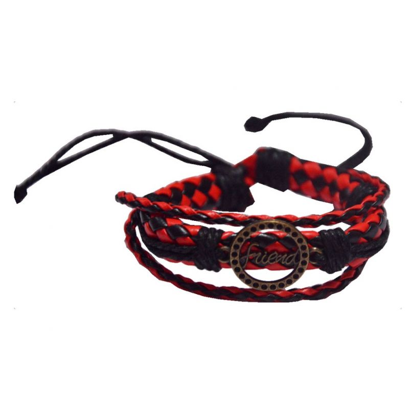 Buy Men Style Circle Shape Friend Red Faux Leather Multilayer With Cotton Dori Clasp Bracelet For Men And Women online