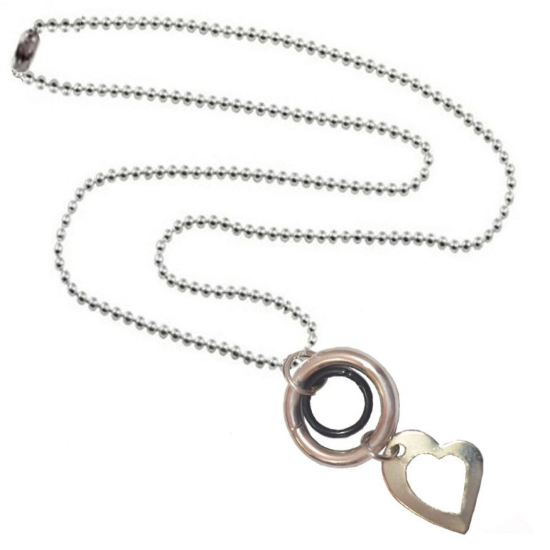 Buy Men Style Hot Selling Heart And Ring Silver Alloy Heart Pendent For Men And Women online