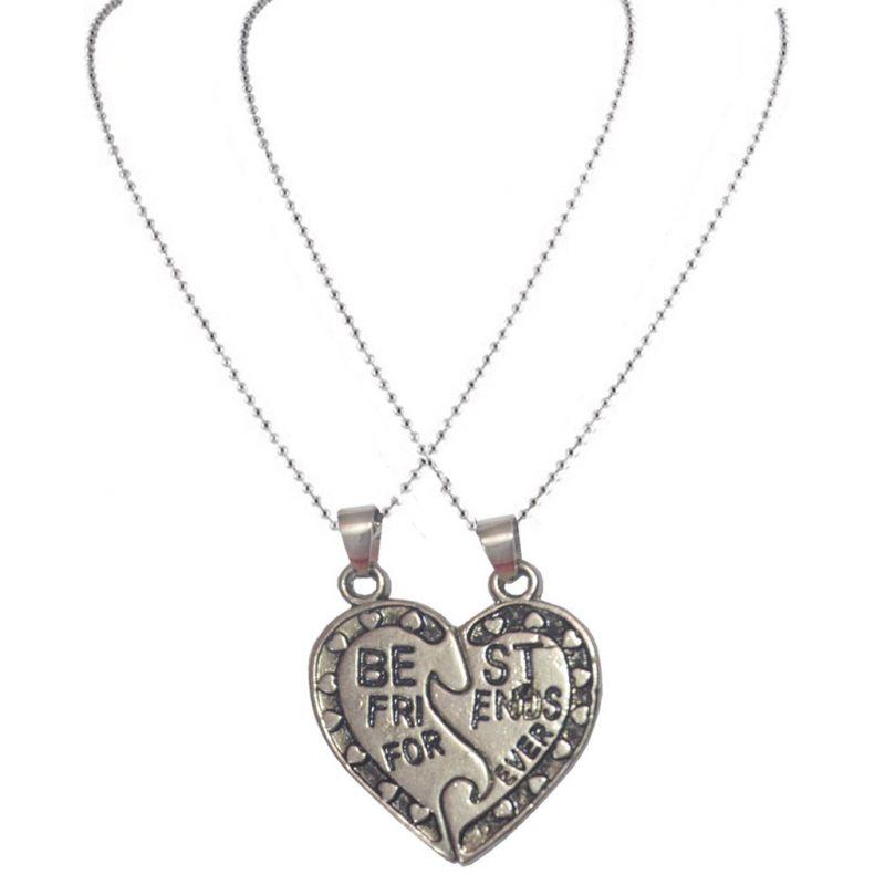 Buy Men Style Broken Heart Necklaces Silver Zinc Alloy Heart Shape ...