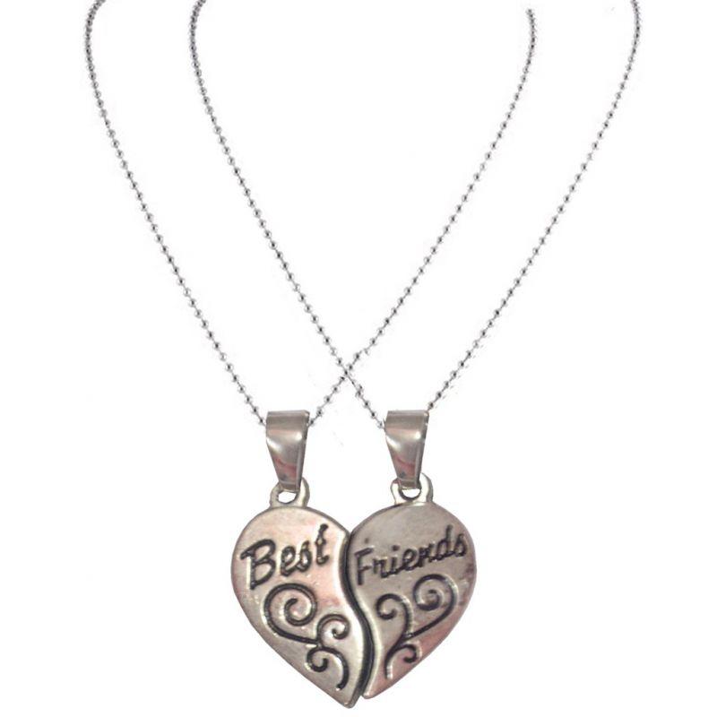 Buy Men Style Broken Heart Necklace Silver Zinc Alloy Heart Shape ...