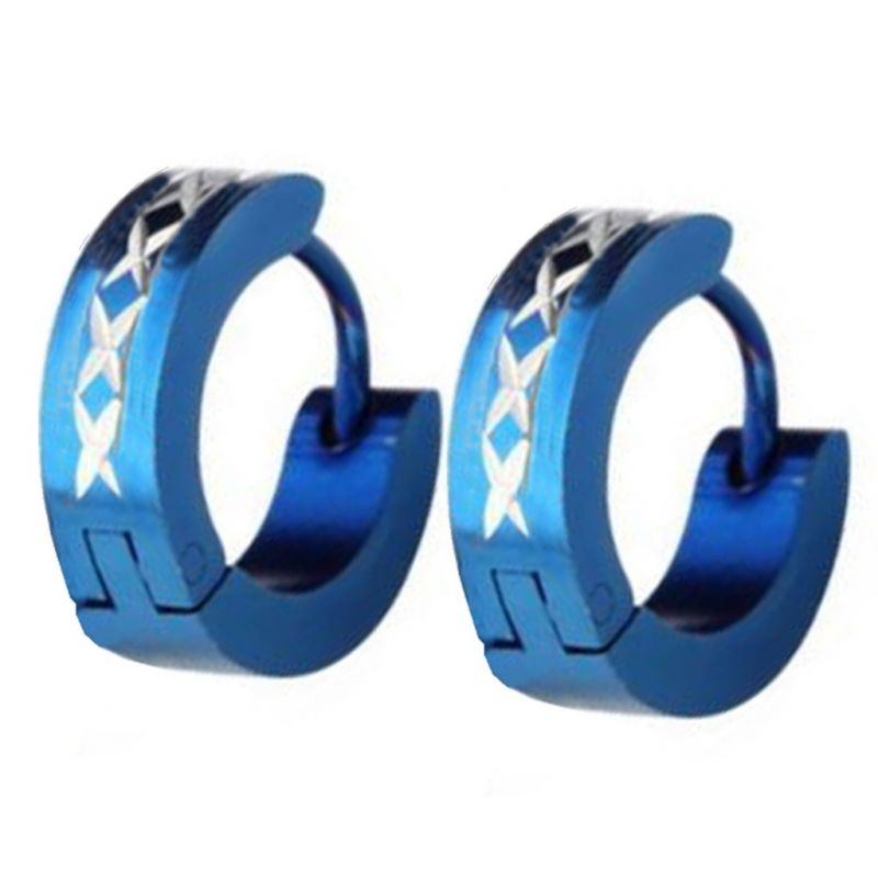 Buy Men Style Cross Pattern design Blue 316 L Stainless Steel Round Hoop Earring For Men And Boy online